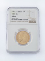 1897 AT Russia 15R Wide Rim Gold Coin Graded by NGC as MS61 - $1,782.00