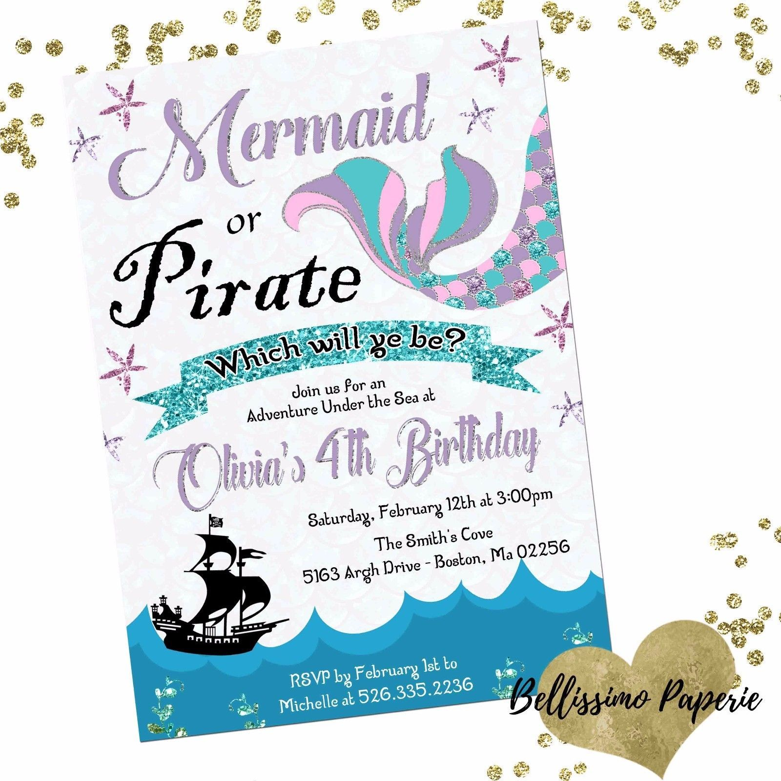Mermaid Or Pirate Birthday Invitation Personalized Custom Glitter Teal Lavender