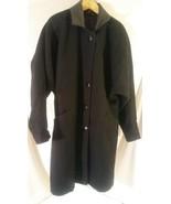Vtg BLACK Lined 80% Wool Leather Nylon Long Winter Coat Jofeld USA Women... - $70.95