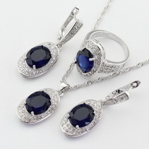 4pcs Women Silver Color Jewelry Sets Blue Crystal White Necklace Pendant Earring image 4