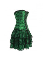 Green Satin with Skirt Gothic Burlesque Bustier Overbust PLUS SIZE Corset Dress - $91.66