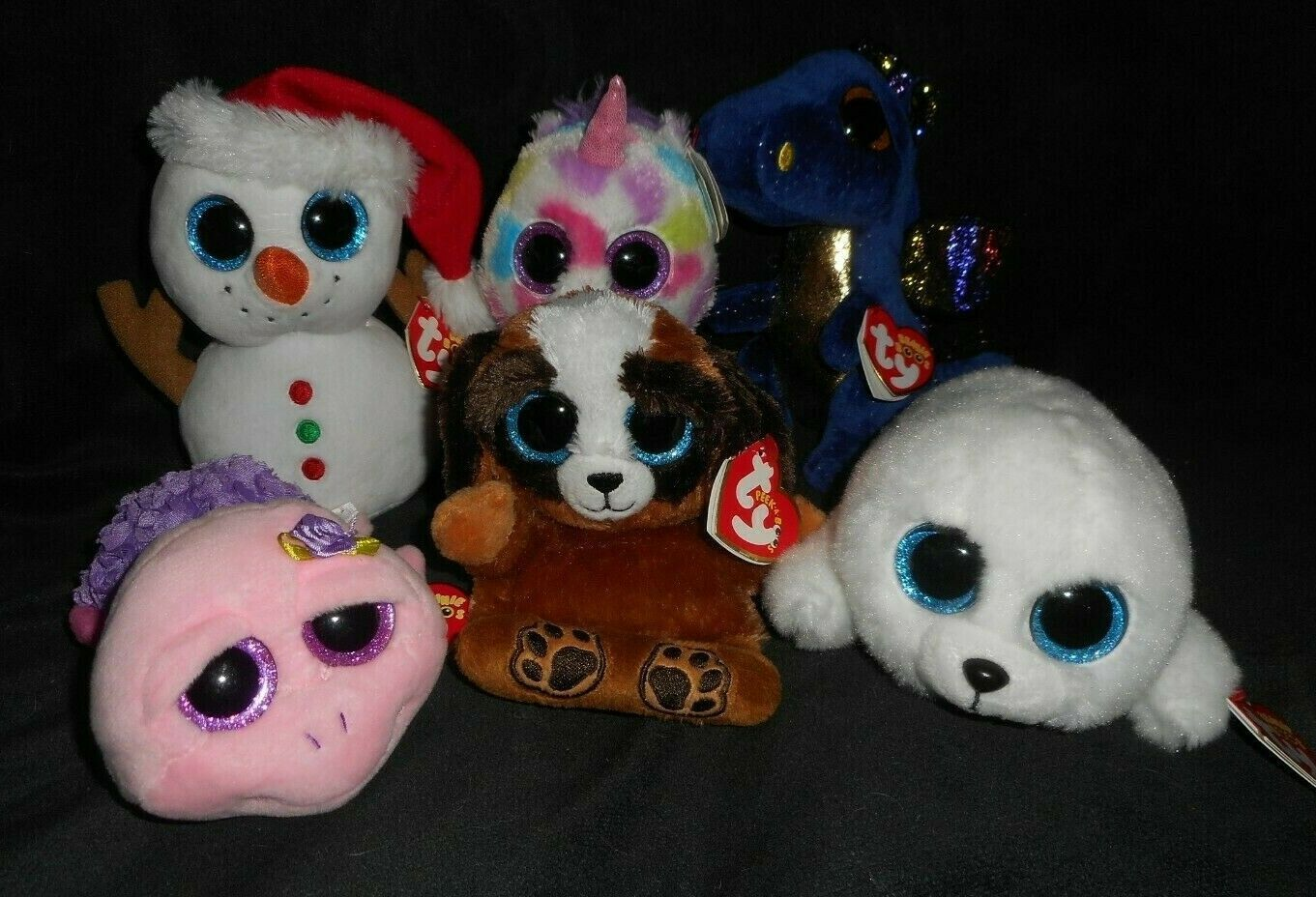 Primary image for LOT 6 TY BEANIE BOOS WISHFUL SCOOP PUPS SAFFIRE ROSIE ICY STUFFED ANIMAL PLUSH
