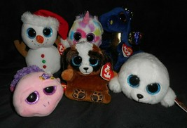 LOT 6 TY BEANIE BOOS WISHFUL SCOOP PUPS SAFFIRE ROSIE ICY STUFFED ANIMAL... - $28.05