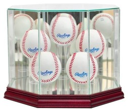 5 Ball Baseball Display Case with Glass Top and Octagon Cherry Base - $69.99