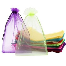 SumDirect 100Pcs 8x12 Inches Mixed Color Organza Gift Bags with Drawstring - $28.71