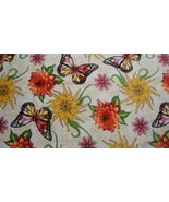 Dahlia By Blank Quilting-Ivory Background-BTY-Butterflies Flowers - $9.95