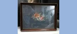 vintage FLOWER NEEDLEPOINT SAMPLER~framed,blue,pink,orange,handmade,stit... - $42.50