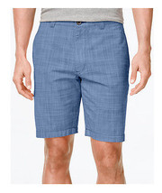 NEW MENS CLUB ROOM FLAT FRONT BLUE MICRO PLAID COTTON CASUAL SHORTS - $14.99