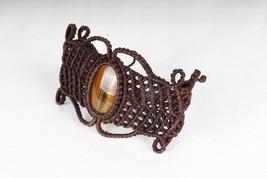 Bracelet Stone Tigers Eye stone Macrame Hippie Handmade Vegan Jewellery ... - $16.00