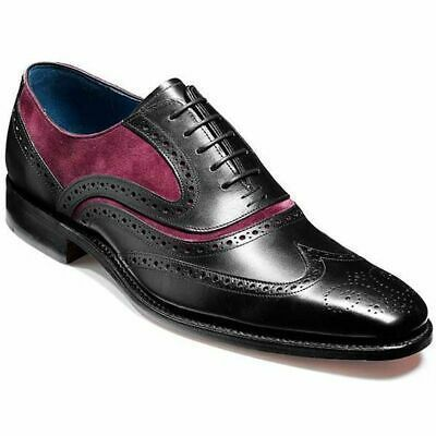 Handmade Men's Black Maroon Wing Tip Brogues Dress/Formal Oxford Leather Shoes
