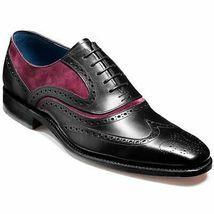 Handmade Men's Black Maroon Wing Tip Brogues Dress/Formal Oxford Leather Shoes image 1