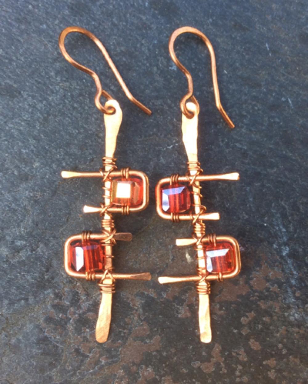 Handmade Copper Earrings Geometric Single And 50 Similar Items Img 0239