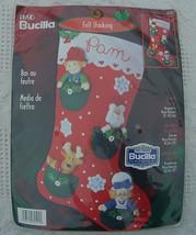 New Vintage Bucilla Pocket Friends Felt Christmas Stocking Kit #84592 - 18in - C - $22.95