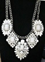 Gorgeous White Poured Glass Choker Bib Necklace Oscar? Rhinestones - $239.99