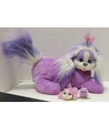 """PURPLE WHITE COCO PUPPY SURPRISE MAMA DOG 12"""" PLUSH WITH 2 BABIES TOY DOLL - $14.99"""