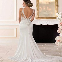 Luxury Backless Lace Appliques Mermaid Wedding Gown Ballroom Dress for Bride image 1