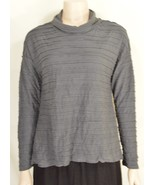 Chalet top XS gray crinkle asymmetrical tiers cowl neckline long sleeve USA - $39.59