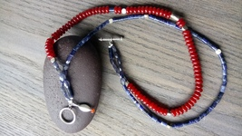 Iolite, sodalite and Carnelian beaded necklace  - $100.00