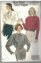 7947 sin Cortar Vogue Costura Patrón Misses Muy Suelto Ajuste Blusa 14 1... - $6.88