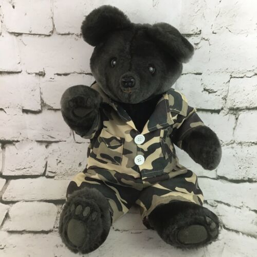 Vintage Black Bear Plush Teddy Classic Jointed Stuffed Animal In Camo Fatigues - $14.84
