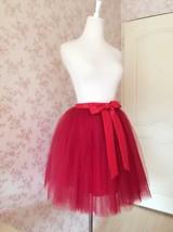 DARK RED Knee Length Elastic Waist A Line Tulle Skirt Bridesmaid Tulle Skirt NWT image 5