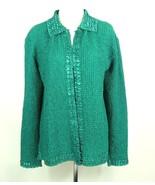 RAFAEL Size 2X Green Crinkle Stretch Button Down Top Blouse Jacket - $15.99