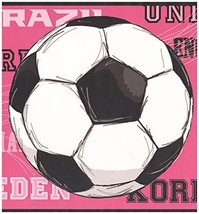 Prepasted Wallpaper Border - Soccer Balls Countries Sports Wall Border R... - $17.81