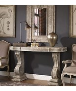 VINTAGE RESTORATION CONSOLE SOFA TABLE AGED GRAY STONE FINISH AGED IVORY... - $833.80