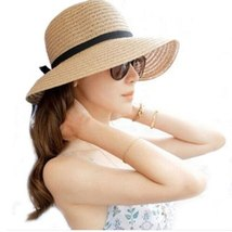 sun hats for women summer visor hat Floppy Foldable Ladies Straw Beach Wide Brim image 6