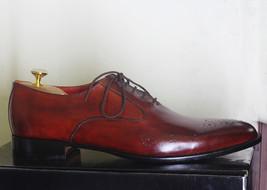 Handmade Men's Burgundy Heart Medallion Dress/Formal Leather Oxford Shoes image 5