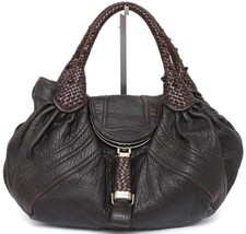 FENDI Brown Leather Zucca Canvas SPY BAG Tobacco Silver Gold HW Shoulder... - $617.50