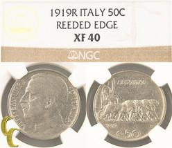 1919-R Italy 50 Centesimi Reeded Edge (NGC XF40) Italian 50c Cent KM#61.... - $803.37