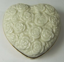 "Lenox Heart Shaped Trinket Box with Gold Trim Cream Roses 1.5 x 3.5 x 3.25"" - $24.18"