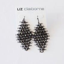 "Liz Claiborne Gun Metal Mesh 3"" Pierced Widow Earrings New  - $9.99"