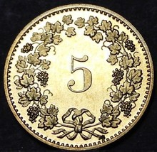 Switzerland 5 Rappen, 1985~Rare Proof~Only 12,000 Minted~Free Shipping - $6.62