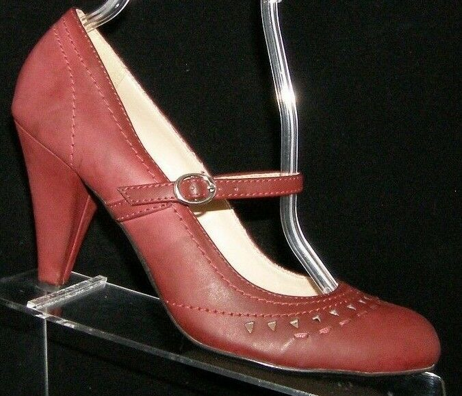 Primary image for MIA 'Riza' burgundy man made round toe mary jane buckle strap heels 8M