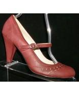MIA 'Riza' burgundy man made round toe mary jane buckle strap heels 8M - $28.38