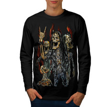 Skeleton Rock Band Tee Heavy Metal Men Long Sleeve T-shirt - $14.99