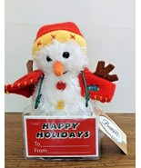 Plush Snowman Stuffed Toy Red Hat Vest Carrot Nose Winter Holidays Beste... - $6.92