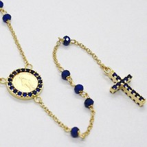 18K YELLOW GOLD ROSARY NECKLACE, FACETED SAPPHIRE ROOT, CROSS & MIRACULOUS MEDAL image 1
