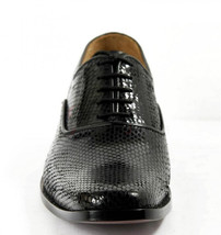 Mens Hand Made Dragon Skin Luxury Formal Black Leather Shoes image 4