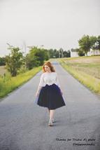 Women's Navy Tutu Skirt High Waist Navy Tulle Midi Tulle Skirt Party Prom Skirt  image 3