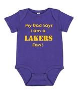 My Dad Says I am a Los Angeles LA Lakers Fan Cute Baby Boy Bodysuit Cree... - $8.98