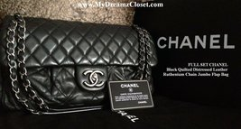 FULL SET CHANEL Black Quilted Distressed Leather Ruthenium Chain Jumbo F... - $1,800.00