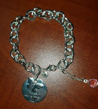 American Eagle Silver Toggle Clasp Bracelet Love Conquers All - $7.92