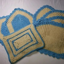 7 Vintage Handmade Blue and Ivory Color Yarn Placemats - $16.00
