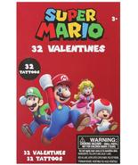Nintendo Super Mario 32 Valentines Day Cards for Kids with 32 Tattoos - $7.99