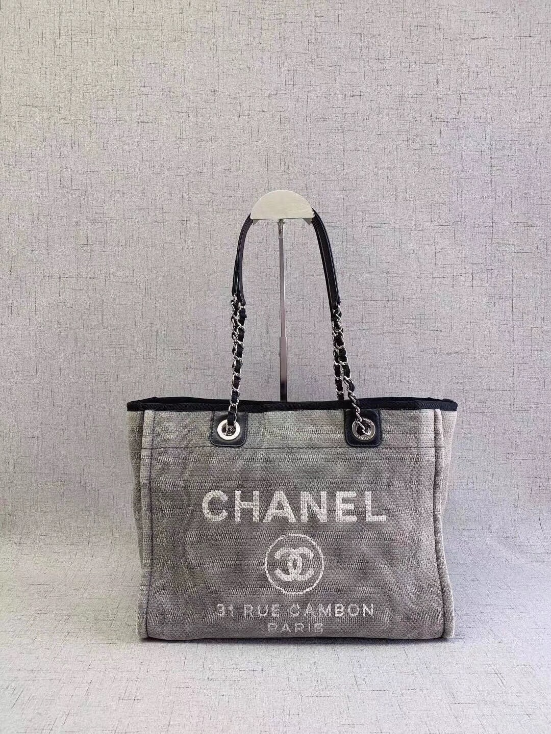 ab951cfb5f7fa5 AUTHENTIC CHANEL BLUE GREY MEDIUM CANVAS DEAUVILLE 2 WAY TOTE BAG ...