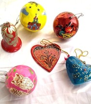 Christmas decoration ornaments paper mache 6 pc pack balls bells heart star - $46.08