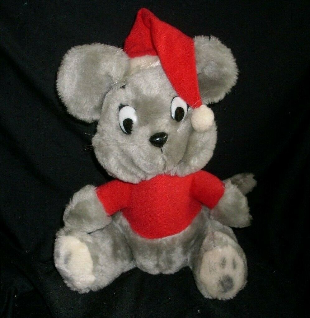 "Primary image for 12"" VINTAGE 1980 DAKIN GREY CHRISTMAS MOUSE SANTA HAT STUFFED ANIMAL PLUSH TOY"